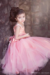 Wedding Vest Pink Australia - Vintage Blush Pink Tulle Ball Gowns Flower Girl Dresses for Wedding Floor Length Kid First Communion Gown Square Hand Made Flowers Bow Sash
