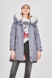 Wholesale Raccoon Fur Collars Australia - Women's Slim style thin waist Grey Long down Parkas hooded with 2 colors Raccoon fur collar DHL FREE SHIPPING