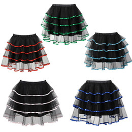 Wholesale Halloween Christmas Multicolor Plus Size Black Layered Mini Mesh TUTU Skirt can match with Corset Top Big and Tall S XL