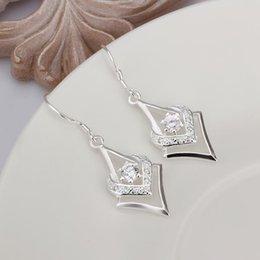 $enCountryForm.capitalKeyWord Australia - bridal jewelry Silver plated exquisite gorgeous fashion charm female models caring dense set zircon silver earrings E444