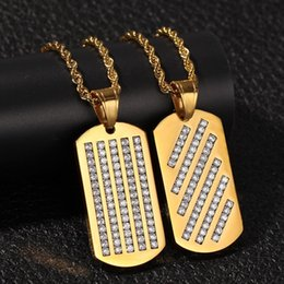 $enCountryForm.capitalKeyWord Australia - 2 Styles Gold Plated Stainless Steel Diamond Hip Hop Dog Tags Army Tag Pendant Necklace Chain for Men Bijoux Mens Chains Jewelry for Sale