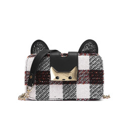 Ear Saddle UK - Cute Chain Cat Shoulder Bag Good Quality Saddle Messenger Bag Nylon Handbag Cat Ear Crossbody Bags Cat Lock Bags 748