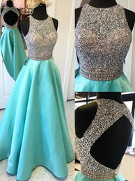 Crop gowns online shopping - 2018 Sexy Open Back Turquoise Crop Top Prom Dresses Long Heavily Beaded Bodice Girls Sparkly Satin Evening Gowns Fast Shipping