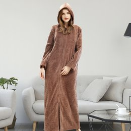 Discount thick bathrobes - Autumn Winter Bathrobe Long Thick Warm Robe femme With Hat Dressing Gowns For Women Solid Home Bathrobes large size