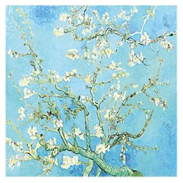 Dance Paintings Australia - European and American women spring summer Van Gogh almond tree oil painting mulberry silk satin scarf 110 oversized shawl