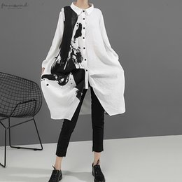loose fitted dresses UK - Women Black White Print Big Size Oversize Dress New Lapel Long Sleeve Loose Fit Fashion Tide Spring Autumn 2020 1A923