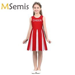 carnival uniforms Australia - Kids Girls Cheerleader Costume Round Neck Printed with Letters CHEER Fancy Party Dress Sport Carnival Cheerleading Uniforms