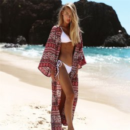 $enCountryForm.capitalKeyWord Australia - Boho Bohemian Striped Print Blue Summer Beach Wear Long Kimono Women Swimsuit Cover Up Plus Size Bikini Coverup Sarong Plage A47 Q190516