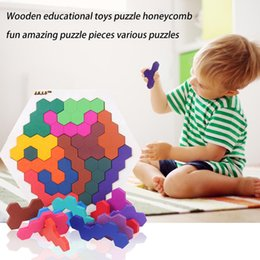 geometry puzzle UK - Fun Geometry Tangrams Honeycomb Logic Puzzles Kids Wooden Training Brain IQ Games Toys Children Desktop Educational Toy Gifts