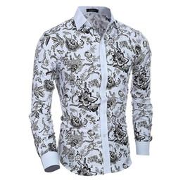 Shirt Korean Designs Australia - PD1 long-sleeved fashion classic floral print 2018 men's Korean Slim design shirt clothing casual long-sleeved shirt men