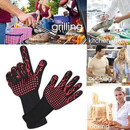 Silicone Finger Kitchen Gloves Australia - 500 Celsius Double-layer Heat Resistant Gloves Oven Gloves BBQ Baking Cooking Mitts In Insulated Silicone BBQ Gloves Kitchen Tools 2019 Hot