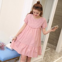 Korean top sKirts online shopping - Summer Top Lace Dress Loose Summer Cotton Fashion Mother Pregnant Woman Skirt Short Sleeve Korean Version Maternity Clothes