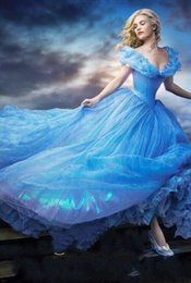 Wholesale sky cosplay resale online - Romatic Cinderella Quinceanera Dresses Off Shoulder Floral Long Organza Formal Sky Blue Sweet Prom Dress Party Wear Cosplay Dress