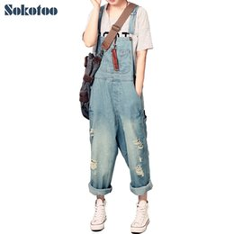 ripping dresses UK - Sokotoo Women's Casual Loose Denim Overalls Lady's Oversized Hole Ripped Baggy Jeans Wide Leg Pants For Woman Y19071701