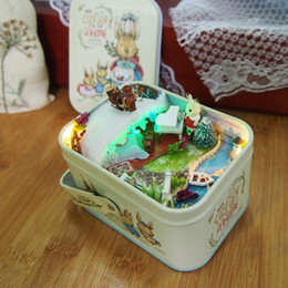 ice puzzle UK - Dollhouse kit Diy miniature Wooden Puzzle Doll house miniaturas Furniture metal box Home Decoration-Ice fairy tale Y200413