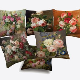 Chinese  Oil Painting Birds And Flowers Cushion Covers European Retro Vintage Rustic Floral Rose Art Cushion Cover Sofa Linen Cotton Pillow Case manufacturers