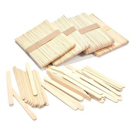 Kids Craft Making UK - 50pcs Burlywood Ice-lolly Stick Natural Wooden Kids Hand Craft Making Ice Cream Diy Popsicle Sticks C19041301