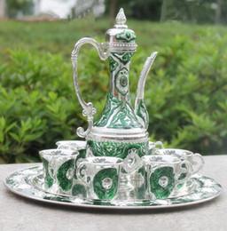 $enCountryForm.capitalKeyWord Australia - Handwork Chinese green color metal wine  tea zinc alloy wine 1 plate+ 1 pot +6 cups Decoration Tibetan Silver Brass