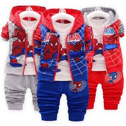 $enCountryForm.capitalKeyWord UK - Children Spiderman Clothing 2019 Spring Autumn Toddler Boys Clothes 3 Pcs Sets Cosplay Costume Kids Clothes For Boys Sport Suit SH190908