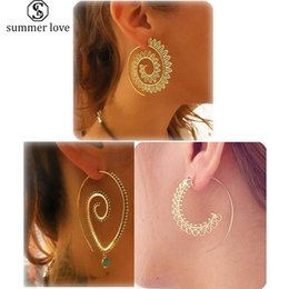 swirl earrings NZ - High Quality Spiral Dangle Earring Set for Women Silver Gold Plating Vintage Tribal Swirl Jewelry Set Wholesale