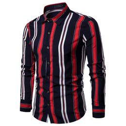$enCountryForm.capitalKeyWord Australia - Seestern Brand clothing 2019 New style Men Shirts Fashion blouse Double Color Strip Body Design Dynamic Men's Lapel Long Sleeve
