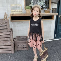 Girls Tassel Shirt Australia - big Girls princess outfits kids printed sleeveless tassel T-shirt+polka dots skirt 2pcs sets 2019 summer children clothing suits Y1805
