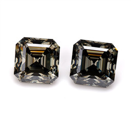 gray jewelry UK - Gray color high quality 6x6mm asscher cut lab grown loose moissanite diamond rough for jewelry making