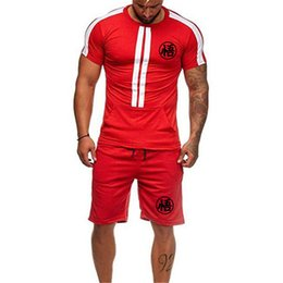 $enCountryForm.capitalKeyWord Australia - Men 2 Pieces Set Fashion Striped Sportwear basketball suit Short Sleeve T-shirt Casual Drawstring Shorts running Suit Male