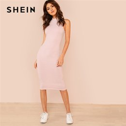 5290bca2ec8c SHEIN Pink Mock Neck Rib Knit Plain Pencil Dress Women Stand Collar  Sleeveless Slim Dress 2018 Elegant Going Out Bodycon Dress Y19042303