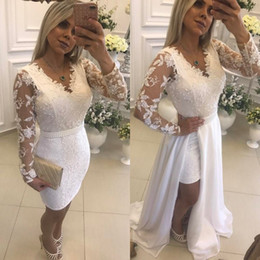 white pregnant wedding dresses Australia - 2019 Vintage Mermaid Wedding Dresses Beach Long Sleeve Wedding Dress Maternity Pregnant Bridal Gowns Sexy Sheer Neck White Lace Overskirts