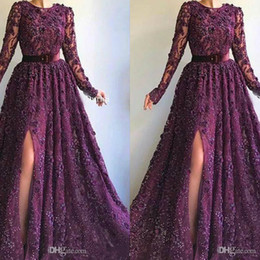 evening gown belt sashes NZ - 2020 Purple Evening Dresses 3D Floral Appliqued Beaded Jewel Neck Front Split Belt Sweep Train Formal Party Gowns Custom Made Prom Dresses