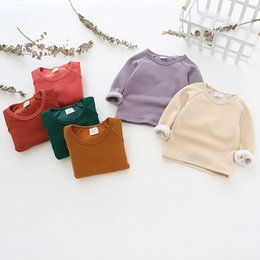 Girls Purple Shirt Australia - Autumn Winter Girl T Shirts Velvet Thick Warm Toddler Boys Tops Blouse Long Sleeve Candy Color Sweatshirts Baby Clothes J190529