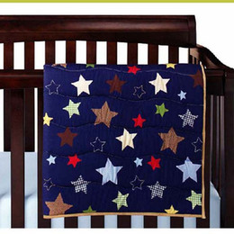 Cotton Cot Bumpers Australia - Promotion 6Pcs Baby bedding set for infant Baby cuna Quilt Crib bedding set Cotton Cot bumper set Blue star Brown stars two styles