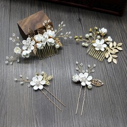 White Gold Hair Australia - Fairytale Forest Bridal Hair Comb Wedding Headpiece Pearl Beaded Crystal Bridesmaid Pins Gold Bridal Hair Accessories White Pink Blue Purple
