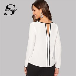 509ad36ee9a88 Sheinside Keyhole Back Contrast Binding Top Female White Blouse Roll Up  Sleeve Shirts For Women Tops 2019 Ladies Office Blouses