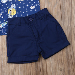 cartoon tutus Australia - Baby Boy Kids Wedding Formal Gentleman Suit Cartoon Short Sleeve Shirt+Shorts 2pcs Clothes Sets