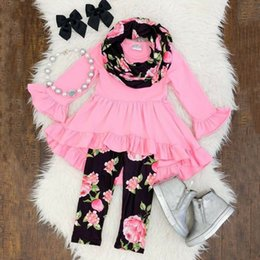 kids floral leggings Canada - Toddler Kid Baby Girl Ruffle Clothes Tops Flare Long Sleeve High Waist Dress Floral Leggings Pants Outfits Set