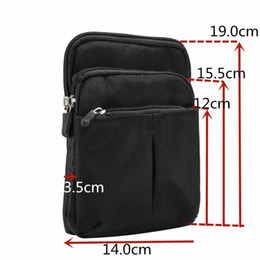 iphone plus wallet case belt clip 2021 - Canvas 7.0inch Leather For Iphone 12 11 XR XS MAX X Galaxy Note 20 S20 Ultra Hip Vertical Shoulder Strap Case Flip Belt Clip Cover Pouches