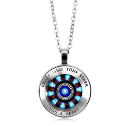 Silver hot plate online shopping - New hot iron man heart glass round pendant gift jewelry necklace