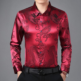 $enCountryForm.capitalKeyWord NZ - Wine Red Smooth Silk Satin Shirt Men 2019 Chinese Dragon Jacquard Mens Slim Fit Long Sleeve Button Down Dress Shirts Chemise 4XL