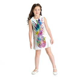 072aacd5c2d Teen Toddler Kid Girl Summer Sleeveless 3D Print Pineapple Dresses Casual Clothes  Dress Baby Girl Sleeveless Robe Fille Hiver