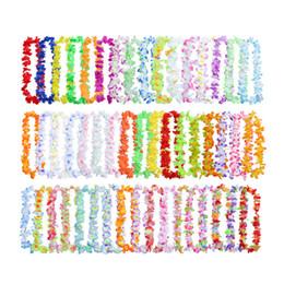 $enCountryForm.capitalKeyWord Australia - 50pcs Colorful Hawaiian Leis Necklace Wreaths Flower Garland Tropical Luau Party Favors Beach Hula Costume Accessory Wedding J190719