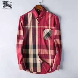 Ss Shirts NZ - SS 2019 American commercial brand boutique plaid shirt fashion designer brand long sleeve business casual shirt -#005