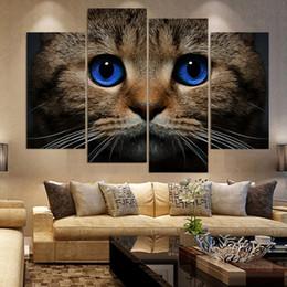 Canvas Art Print Frame Australia - Frame HD Art Wall Print Painting Modular Canvas Poster 4 Piece Pcs Animal Cat Stare Blue Eyes For Living Room Home Decor Artwork