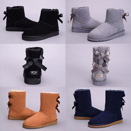 PurPle knee boots online shopping - High Quality Fashion WGG Australia Classic knee Boots Ankle boots Black Grey Chestnut Navy Blue Red Coffee Women girl Snow boots Eur