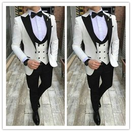 royal white suits Canada - White Groom Tuxedos Mens Wedding Suits Black Peaked Lapel Man Blazer 3Piece Slim Fit Male Jacket Trousers Double Breasted Prom Party Suit