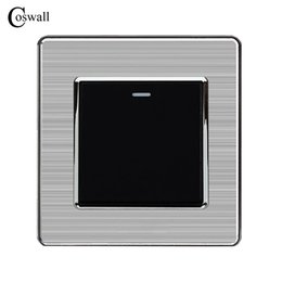 Stainless Steel Push Button Switches Australia - Light Switch Coswall 1 Gang 1 Way Luxury Push Button Wall Switch Interruptor Stainless Steel Panel AC 110~250V