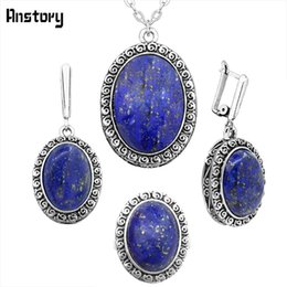 Women Jade Ring NZ - Fashion Oval Lapis Lazuli Jewelry Sets Vintage Necklace Earrings Rings Jewelry Sets For Women Snail Pendant Party Gift