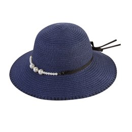 06214ce91068a Fashion 2019 Summer New Women Beach Straw Hat Jazz Sunshade Panama Pearl  Fedora Hat Gangster Cap High Quality Gift
