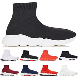 Wholesale 2019 New Fashion Socks shoes Men Women sneakers speed trainer Triple Black Red Logo Print White Blue Orange mens trainers casual shoes